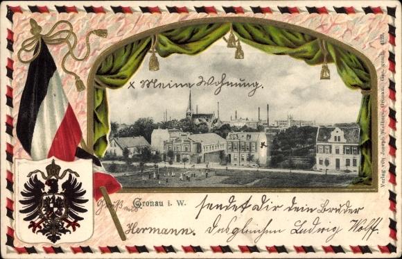 Präge Wappen Passepartout Ak Gronau in Westfalen, Teilansicht vom Ort, Fahne