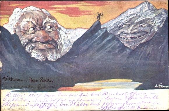 Künstler Ak Hansen, E., Altmann und Papa Sentis, Berggesichter, Killinger Nr 4
