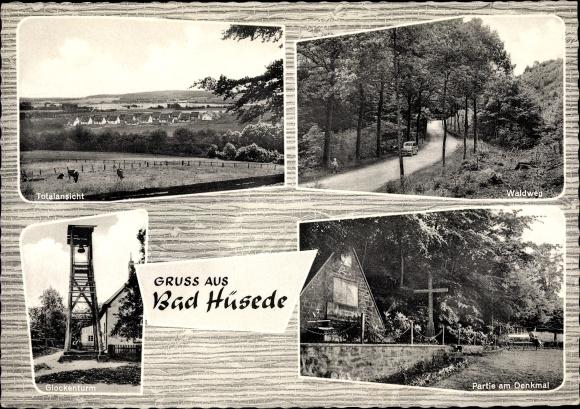 Ak Hüsede Bad Essen Niedersachsen, Gaststätte u. Kolonialwaren Wilker, Glockenturm, Waldweg, Denkmal