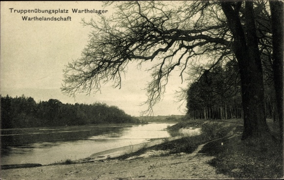 Ak Warthelager Poznań Posen, Truppenübungsplatz, Warthelandschaft, Uferpartie