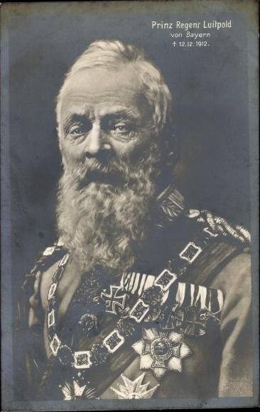 Ak Prinzregent Luitpold von Bayern, Portrait, Orden, Abzeichen, Trauerkarte 1912