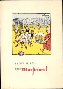 Ak Warsteiner Reklame, Bier, Fußball, Feld, Spieler, Tor, Tribüne