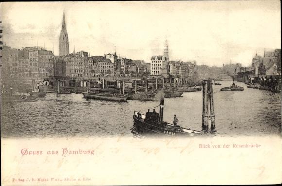 Ak Hamburg Mitte Altstadt, Blick von der Rosenbrücke zur Stadt, Schlepper Blücher