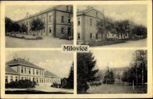Ak Milovice nad Labem Milowitz Mittelböhmen, Ortsansichten, Häuser, Straßenpartie