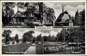 Ak Katowice Kattowitz Schlesien, Blick auf die Holzkirche im Südpark, Rosengarten