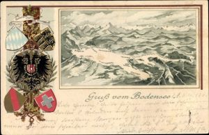 Präge Wappen Passepartout Landkarten Litho Konstanz, Bergregion um den Bodensee
