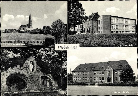 Ak Visbek in Niedersachsen, St. Vitus Stift, Gerbert Schule, Lourdes Grotte, Kirche, Ehrenmal