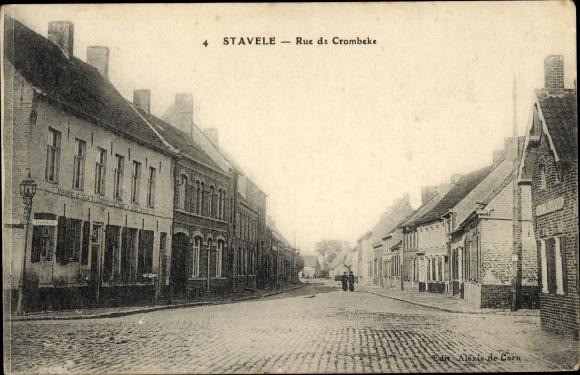 Ak Stavele Alveringem Westflandern, Rue de Crombeke