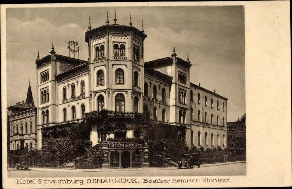 Ak Osnabrück in Niedersachsen, Hotel Schaumburg, Bes. Heinrich Klünker