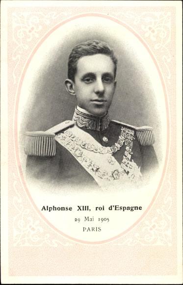 Passepartout Ak Alphonse XIII, Roi d'Espagne, König Alfons von Spanien, Portrait