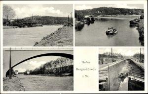 Ak Bergeshövede Hörstel in Westfalen, Hafen und Brücke, Schleuse, Boote