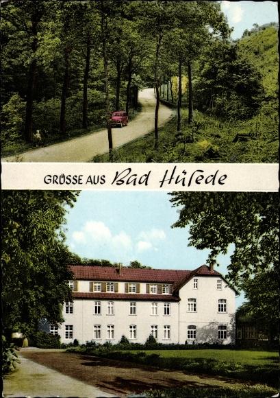 Ak Hüsede Bad Essen in Niedersachsen, M. Wilker Gasthaus u. Gemischtwaren, Gesamtansicht u. Waldweg