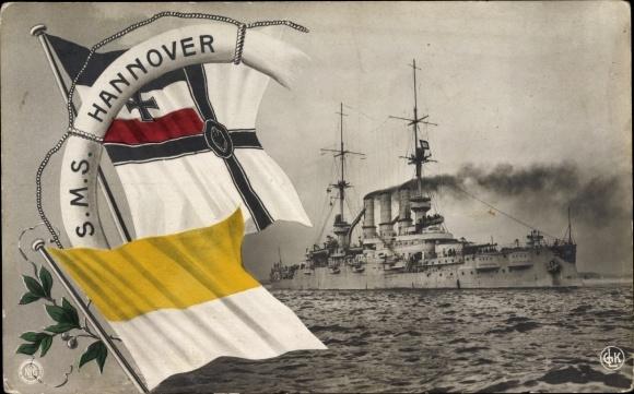 Ak Deutsches Kriegsschiff, SMS Hannover, Fahnen, Kaiserliche Marine, NPG