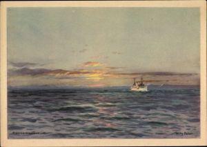 Künstler Ak Stöwer, Willy Mitternachtssonne, Dampfschiff Oceana, HAPAG