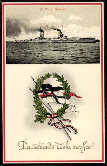 Ak Deutsches Kriegsschiff, SMS Kaiserin, Kaiserliche Marine, Fahnen, Deutschlands Wehr zur See