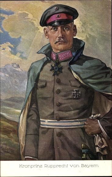 Künstler Ak Kronprinz Rupprecht von Bayern, Portrait in Uniform