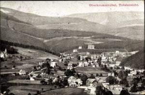 Ak Karpacz Krummhübel Riesengebirge Schlesien, Totalansicht von Ort