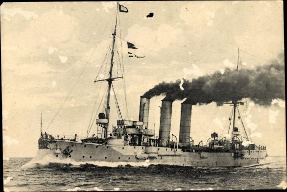 Ak Deutsches Kriegsschiff, Kreuzer in voller Fahrt