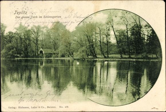 Ak Teplice Teplitz Schönau Reg. Aussig, Großer Teich im Schlossgarten