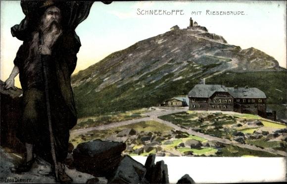 Ak Pec pod Sněžkou Petzer Reg. Königsgrätz, Riesenbaude, Bouda v Obřím Dole, Schneekoppe, Zieher