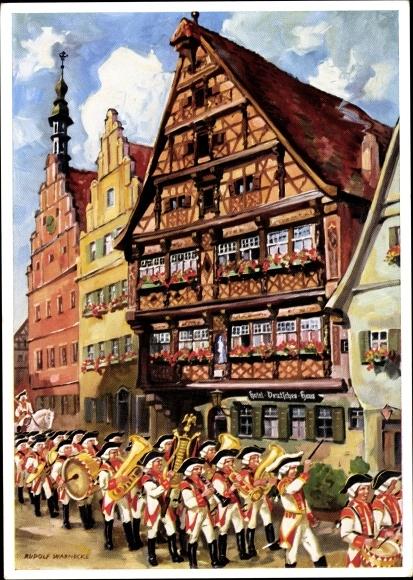 Künstler Ak Warnecke, Rudolf, Dinkelsbühl in Mittelfranken, Knabenkapelle u. Deutsches Haus