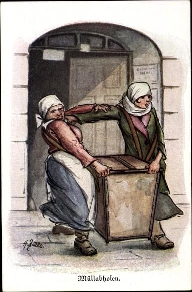 Künstler Ak Zille, Heinrich, Berlin, Müllabholen, Frauen bei Männerarbeit