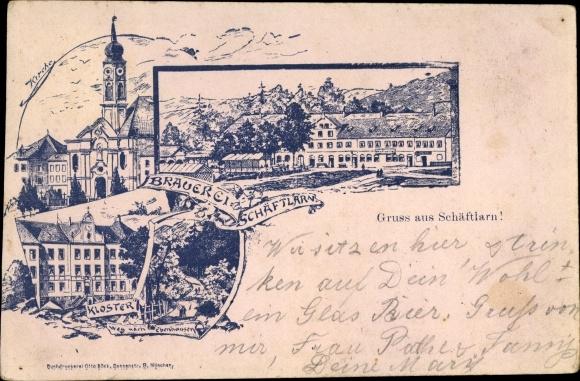 Vorläufer Litho Schäftlarn Oberbayern, Brauerei und Gasthaus, Kloster, Kirche, Weg nach Ebenhausen