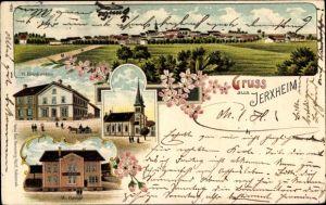 Litho Jerxheim in Niedersachsen, Geschäftshaus W. Brinkmann, W. Haage, Kirche, Gesamtansicht