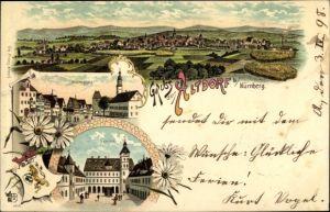 Wappen Litho Altdorf in Mittelfranken, Seminar, Marktplatz, Panorama vom Ort