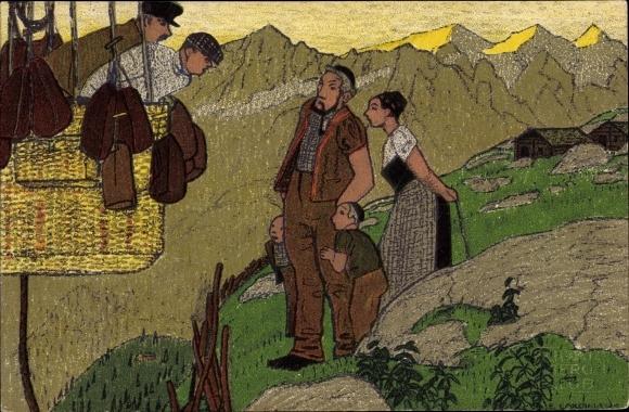 Künstler Ak Zürich, Gordon Bennett Wettfliegen 1909, Ballonfahrer im Gebirge