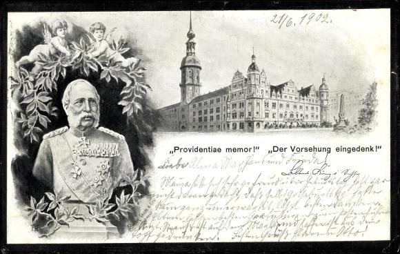 Künstler Ak König Albert von Sachsen, Providentiae memor, Der Vorsehung eingedenk, Trauerkarte