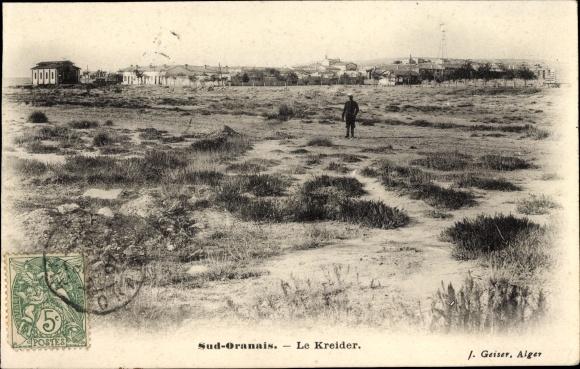 Ak Algerien, Sud Oranais, Le Kreider, Fernblick zu einer Ortschaft