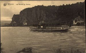 Ak Wépion Namur Belgien, Les Rochers de Neuviau, Salondampfer, Felsen
