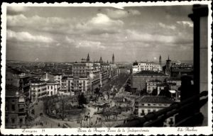 Ak Saragossa Aragonien Spanien, Plaza de Aragon, Paseo de la Independencia