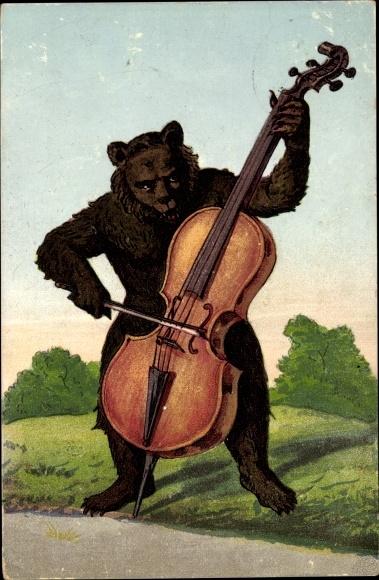 Ak Braunbär spielt auf einem Cello, vermenschlicht