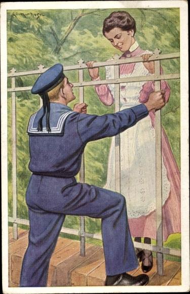 Künstler Ak Matrose mit junger Frau am Zaun, Unsere Marineblauen, Klar zum Gefecht
