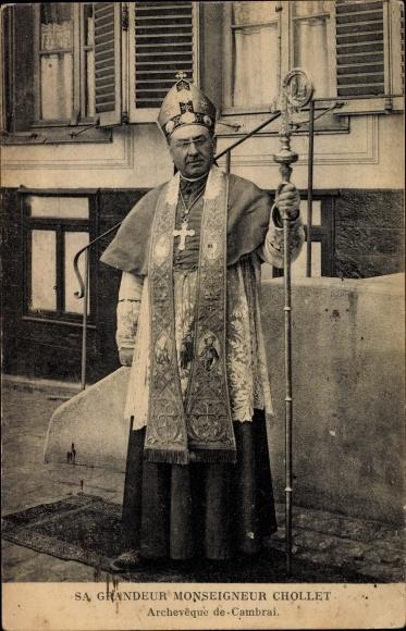 Ak Cambrai Nord, Sa Grandeur Archeveque Monseigneur Chollet, Portrait