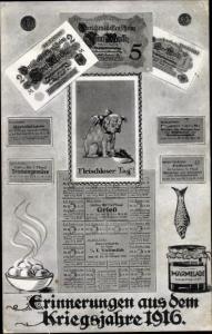 Ak Erinnerungen aus dem Kriegsjahre 1916, Darlehenskassenscheine, Fleischloser Tag