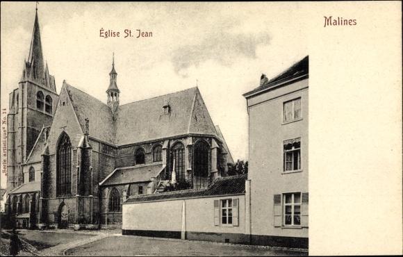 Ak Mechelen Malines Flandern Antwerpen, Eglise St. Jean, Straßenpartie mit Blick auf die Kirche