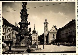 Ak Teplice Teplitz Schönau Reg. Aussig, Schlossplatz, Pestsäule, Johanneskirche, Schlosskirche