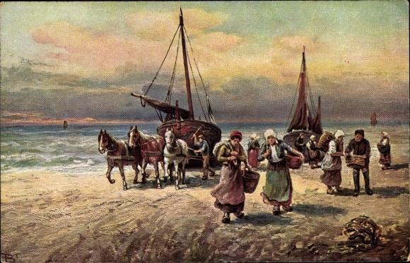 Künstler Ak Strandszene, Pferde ziehen Fischerboote auf den Strand