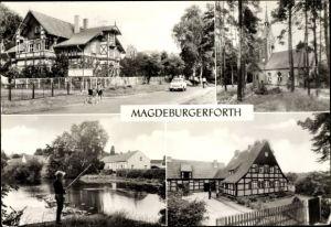 Ak Magdeburgerforth Möckern, Betriebsferienheim des Volksgutes, Kirche, Dorfteich, Oberförsterei