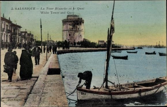 Ak Thessaloniki Griechenland, La Tour Blanche et le Quai, Weißer Turm