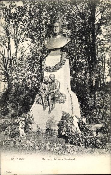 Ak Münster in Westfalen, Bernard Altum Denkmal, Gesamtansicht