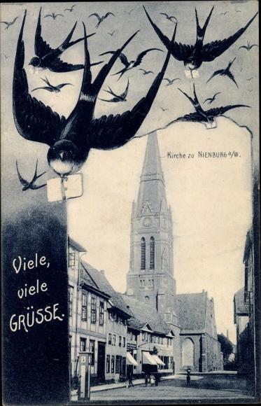Passepartout Ak Nienburg an der Weser, Kirche, Schwalben