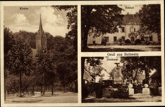 Ak Reitwein in Brandenburg, Kirche, Schloss, Denkmal