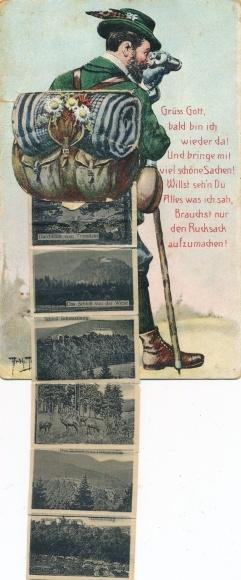Leporello Künstler Ak Thiele, Arthur, Wanderer, Schwarzburg in Thüringen, Schloss