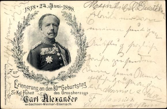 Ak Großherzog Carl Alexander von Sachsen Weimar Eisenach, Portrait, 80. Jubiläum 1898