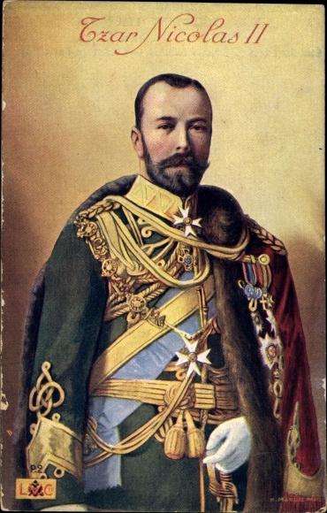 Ak Zar Nikolaus II. von Russland, Uniform, Säbel, Orden