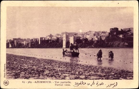 Ak Azemmour Marokko, Vue partielle, Partial View, Teilansicht, Fischer, Fischernetz